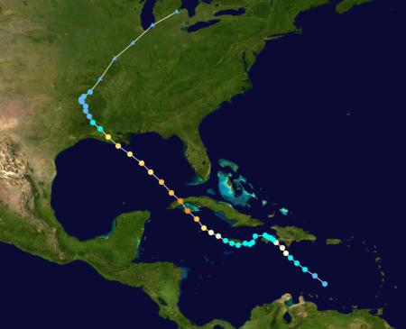 Path of Hurricane Gustav