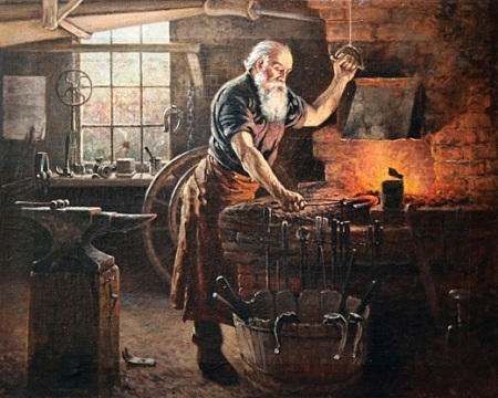 A blacksmith at work, by Charles Grant Beauregard