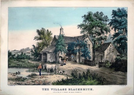 Currier and Ives lithograph, The Village Blacksmith by Palmer