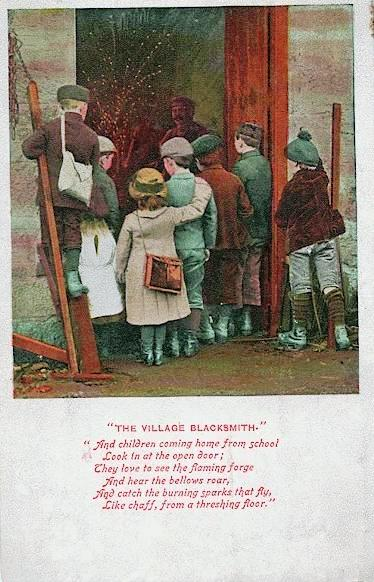 Village Blacksmith vintage postcard