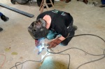 Wayne welds guide pieces on Jakob's sliding bolt